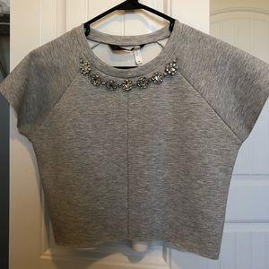 Zara gray neoprene crop top w/ bejeweled neckline